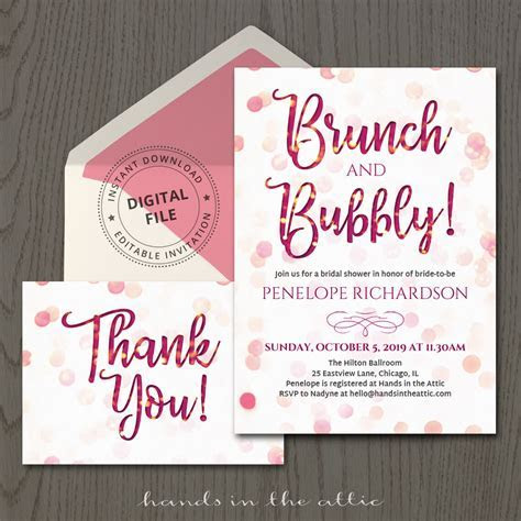 Brunch and Bubbly Invitation Template   Hands in the Attic