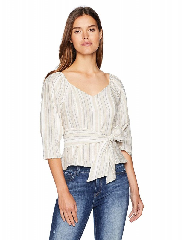 J.O.A. Women's Pleated Sleeve Sweetheart Neckline Top with Tie at Waist