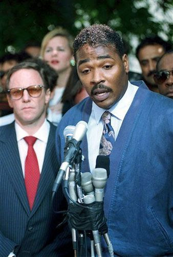 Rodney King conducts a press conference calling for an end to the 1992 Los Angeles riots.