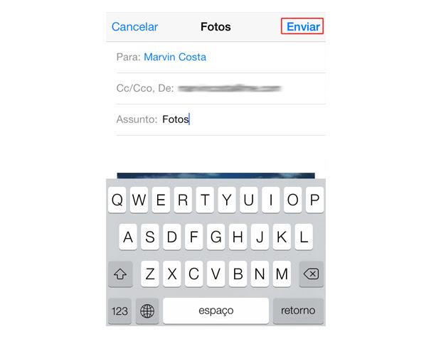Enviando por e-mail cinco fotos do iOS 7 (Foto: Reprodução/Marvin Costa)