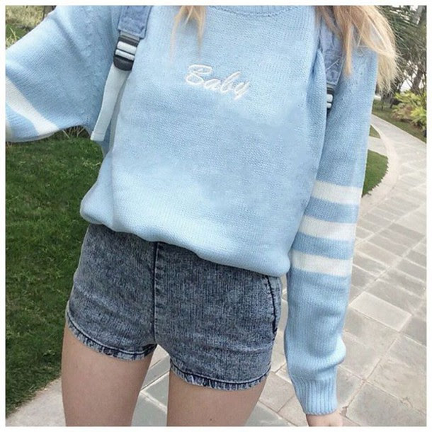 sweater it girl shop baby blue denim shorts casual