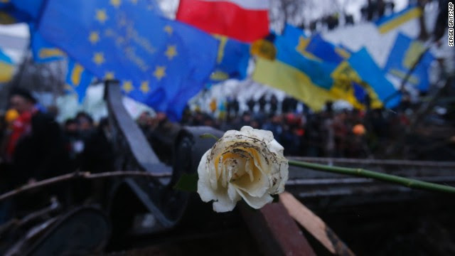 A rose, the symbol of the revolution, lies on barricades being built by Pro-European Union activists next to the Ukrainian Government building in Kiev on December 8.