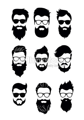 ベクトル ベクトルひげを生やした男性顔別の髪型髭ひげのヒップスターの