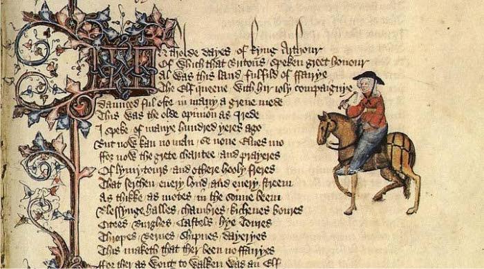 Cuento de la viuda de Bath en el manuscrito Ellesmere, siglo XV.