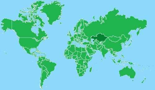 Stockits Style World Map Kazakhstan