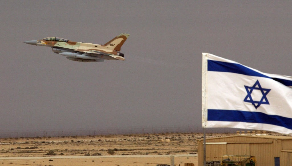 "epa00138284 An Israeli Air Force F-16I jet fighter takes off after touching down briefly at the Ramon Air Force Base in the Negev Desert as Israel takes possession of two of the newest jet fighters in a ceremony on Thursday, 19 February 2004. The two jets flew from Texas to Israel with a stop over for fueling in the Azore Islands. The F-16I, or ""Sufra"", Hebrew for 'Storm', is a joint Israeli-American fighter with Israel supplying the core avionics. The jet has a sophisticated radar system, a satellite communications system and anti-missile electronic warfare system as well as an improved pilot's helmet with a night vision system.  EPA/JIM HOLLANDER"