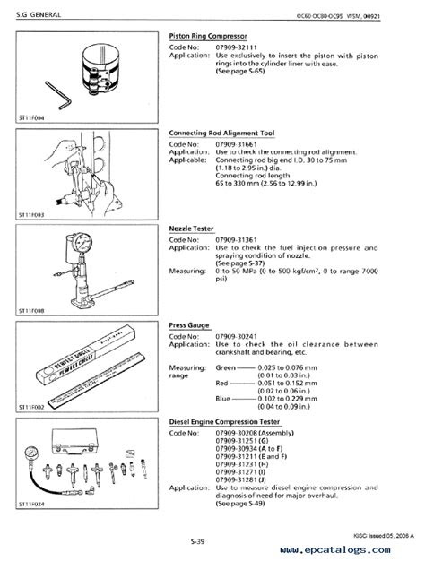 Kubota OC60, OC80, OC95 Engines Shop Manual PDF 9Y011-00923