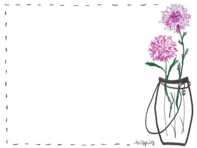 フリー素材フレームナチュラルな花瓶と花のイラスト素材 Webデザイン