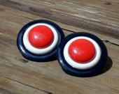 Vintage Chunky Patriotic Plastic Cab Pierced Earrings