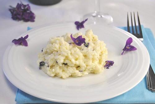 Violets and Prosecco Risotto