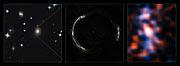 Composición del anillo de Einstein de SDP.81 y de la galaxia observada a través de la lente gravitatoria (sin anotaciones)