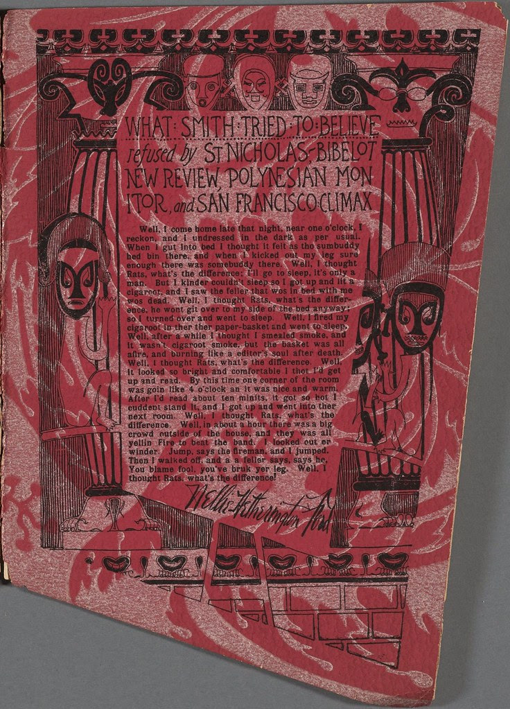 typed story inside elaborate absurd border, all on red-patterned background