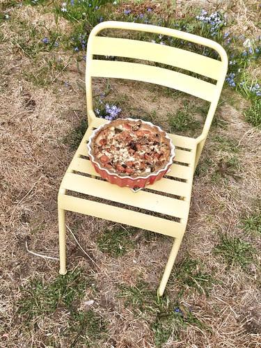 vegetarian pie on a garden chair