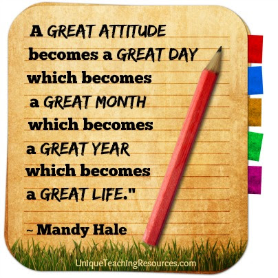 A great attitude becomes a great day - Mandy Hale motivational quote