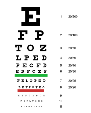 A typical Snellen chart. Originally developed ...