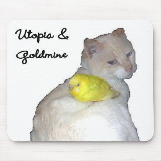Utopia and His Pet Budgie Goldmine mousepad