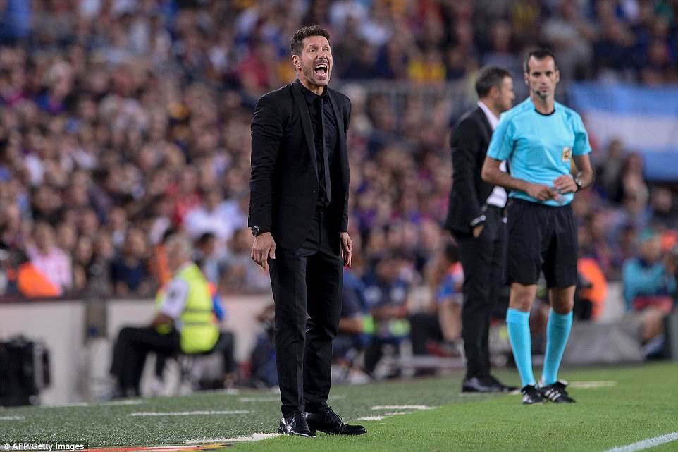 Atletico Madrid's Argentinian coach Diego Simeone shouts from the sideline as his team returned home with a point