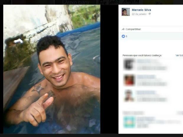 Detento postou foto dentro de 'piscina' (Foto: Reprodução/Facebook/Marcelo Silva)