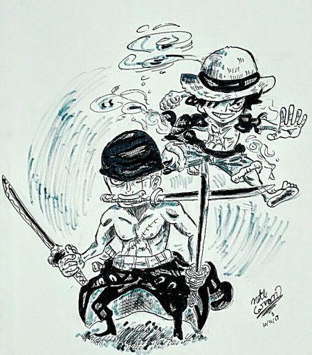 Chibi Luffy And Zoro Drawing One Piece Amino