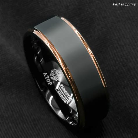 Tungsten Carbide ring rose gold black brushed Wedding Band