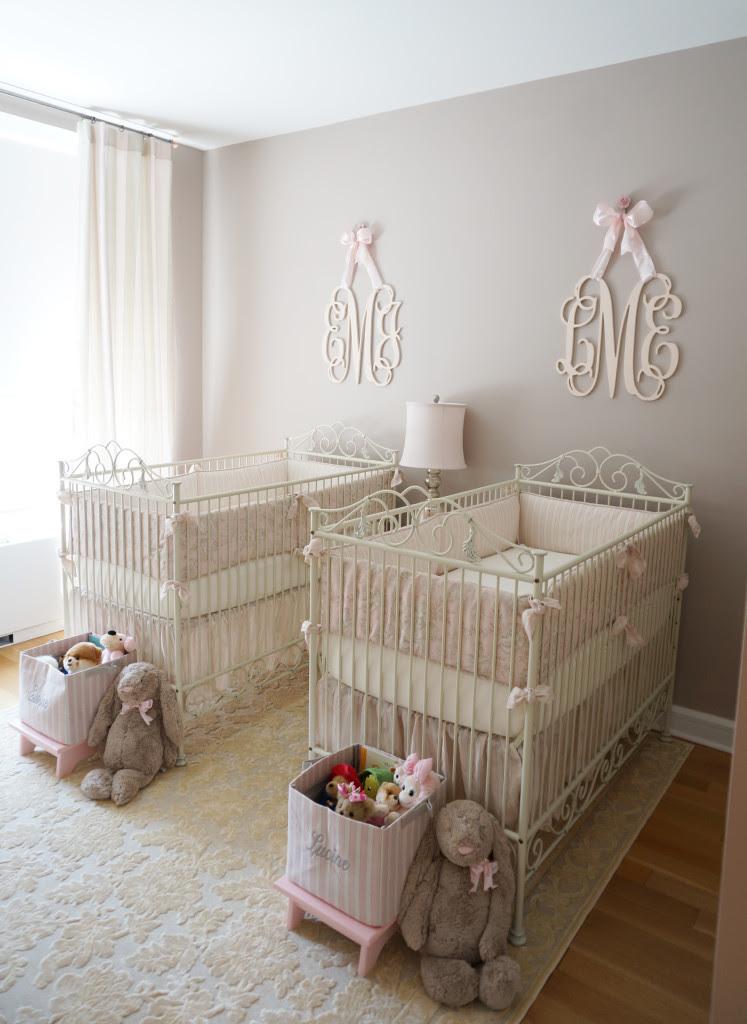 Pink, Ivory and Grey Twin Girls Nursery - Project Nursery