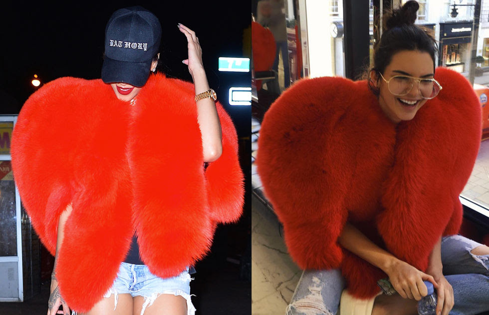 Kendall Jenner posted this pic on her Instagram a few weeks after Rihanna was spotted wearing the same heart-shaped fur number out in New York. Both girls teamed the look with ripped jeans, looked awesome.
