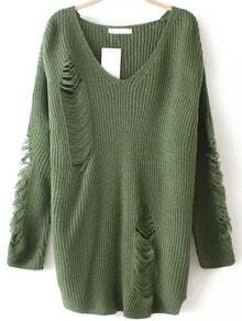 Army Green V Neck Ripped Sweater