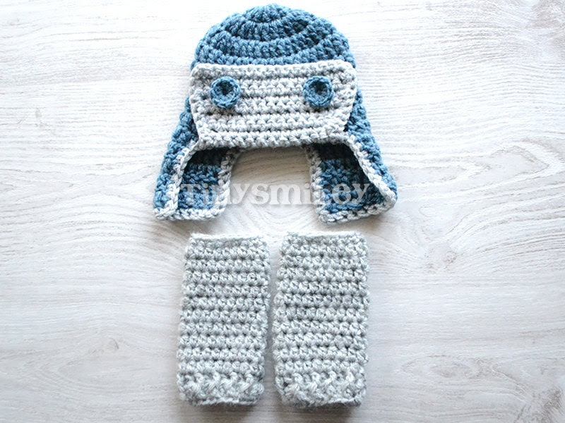 NEW Crochet Baby Leg Warmers  and Beanie  in Blue and Gray, Baby Leg Warmers, Aviator Hat, 0 - 3 Mo Size - TinySmiley