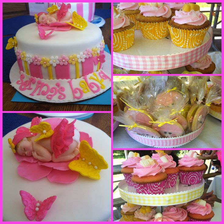 Pink And Yellow Baby Shower Cake 2