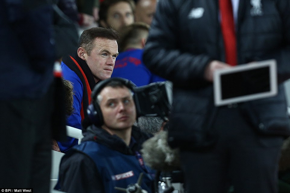 United captain Wayne Rooney was named on the bench by Mourinho and had to watch on from his seat during the first half