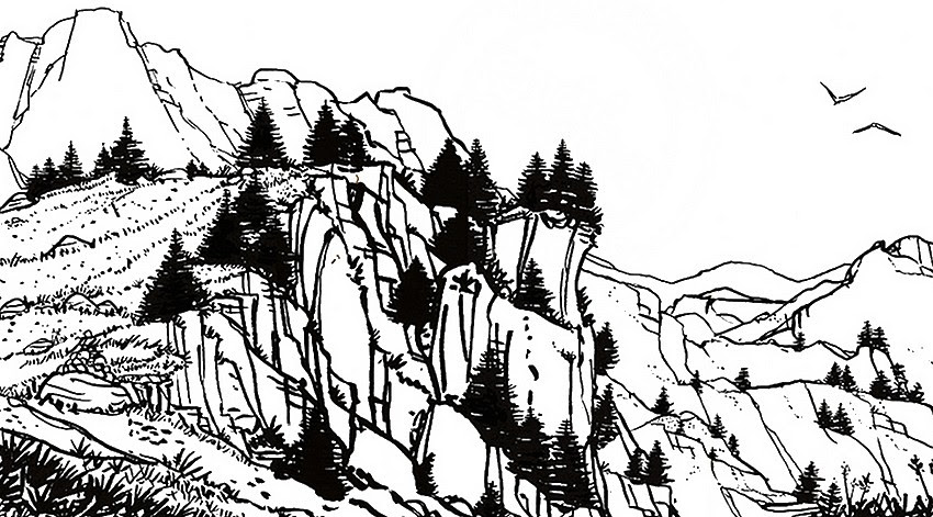 Disegno Da Colorar Antistress Montagna Paesaggio Montano 2