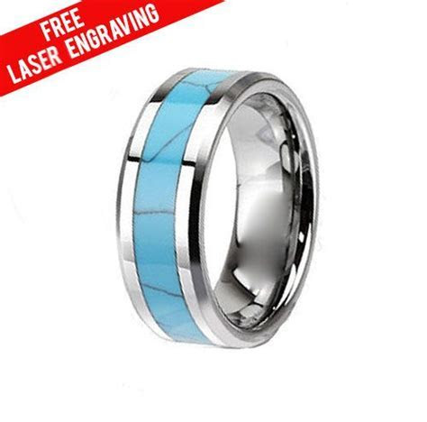 Tungsten Men's Turquoise Inlaid Band Ring, Wedding Band