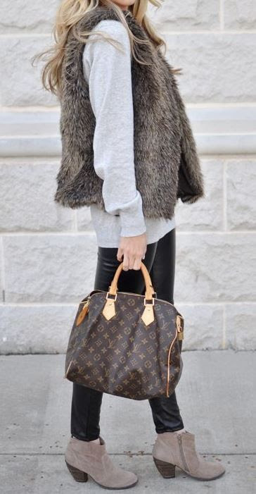 Faux Leather Leggings by Michael Kors look perfect with this fur vest & booties! | The Ultimate Christmas Gift Guide