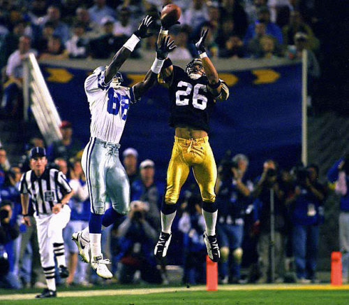 siphotos:<br /><br />Steelers DB Rod Woodson deflects a pass intended for Cowboys WR Michael Irvin during Super Bowl XXX on Jan. 28, 1996.  An 11-time Pro Bowler and 6-time First-Team All-Pro, Hall of Famer Rod Woodson turns 49 today. (Walter Iooss Jr./SI)<br />