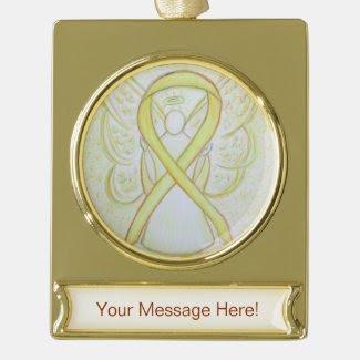 Yellow Awareness Ribbon Angel Art Custom Ornament Gold Plated Banner Ornament