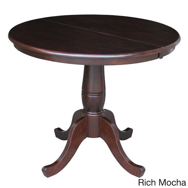 Round 36-inch Pedestal Table with 12-inch Leaf - 16585235 ...