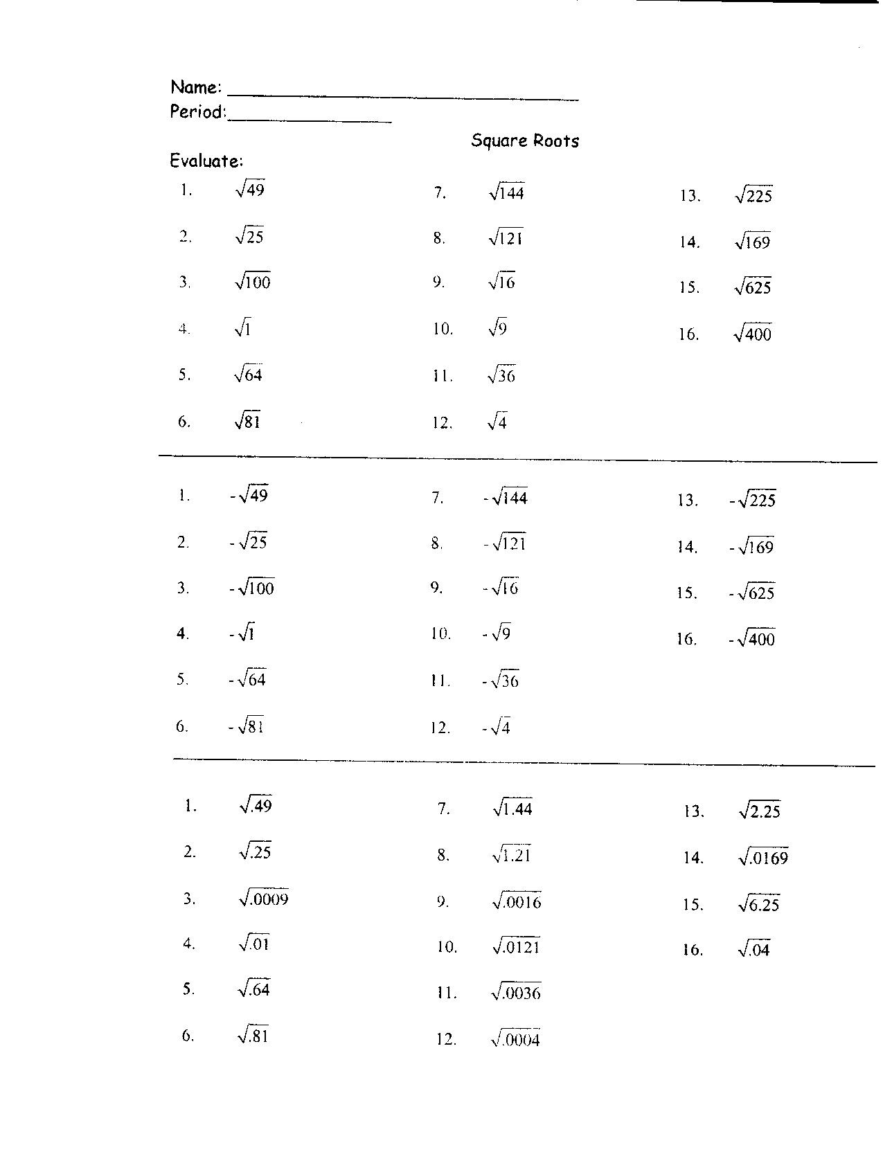 - 31 Perfect Square Roots Worksheet - Worksheet Resource Plans