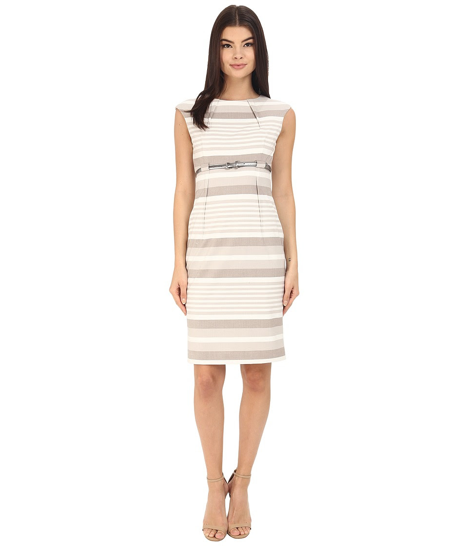 Calvin Klein - Stripe Empire Waist Sheath CD6XGBD6 (Khaki\/White) Women's Dress