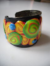 polymer clay cane bracelet