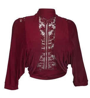 Plus Size Floral Laced Back Cropped Bolero Shrug Burgundy