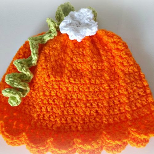 Cute baby crocheted pumpkin hat for the September Pinterest Challenge from www.thisautoimmunelife.com