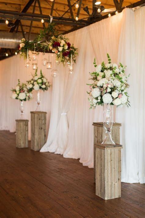 Reclaimed Wood Flower Stands Wedding Ceremony Setup