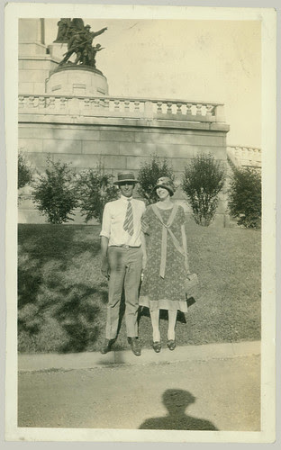 Couple  in front of monument, somewhere
