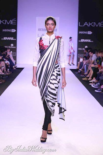 Archana Kochhar saree over pants with shirt style blouse