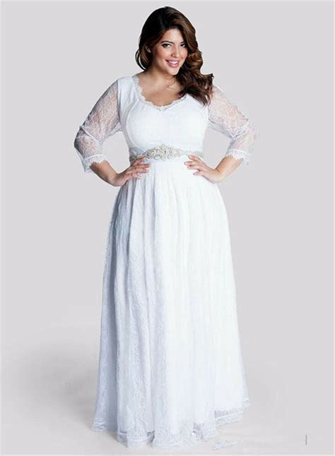 New 3/4 Sleeve Lace Wedding Dress Bridal Gown Plus Size