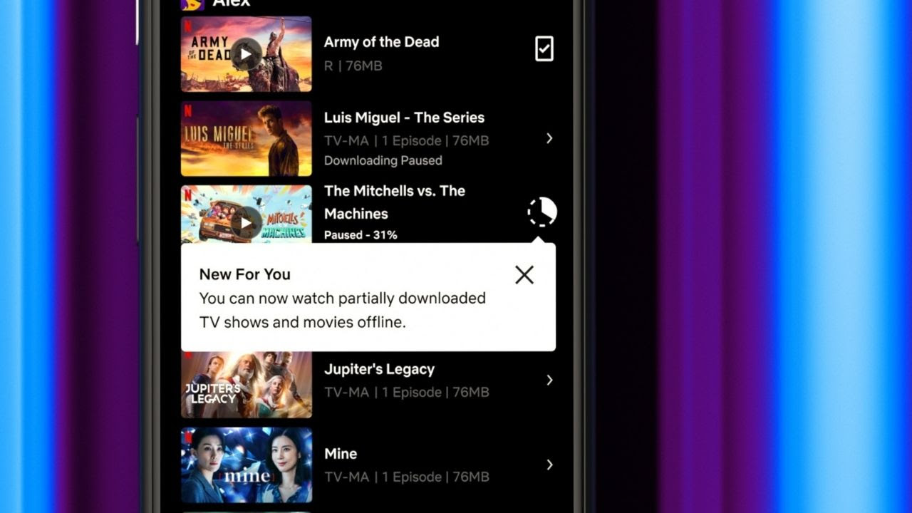 Netflix partial downloads feature now available for Android users.