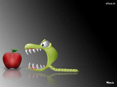 green bug eat red apple lunch time hd cartoon funny wallpaper