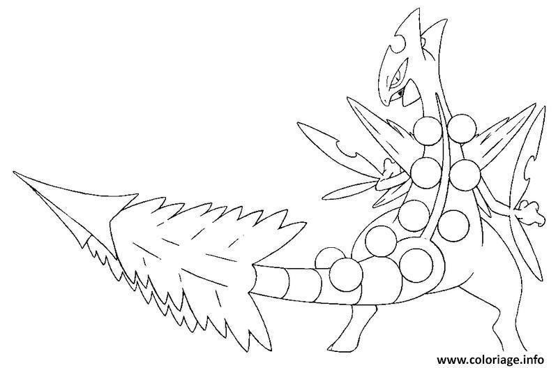Coloriage Pokemon Mega Evolution Jungko 254 Jecoloriecom