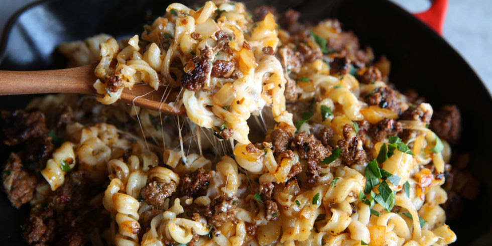 Skillet Meat and Cheese Pasta Recipe