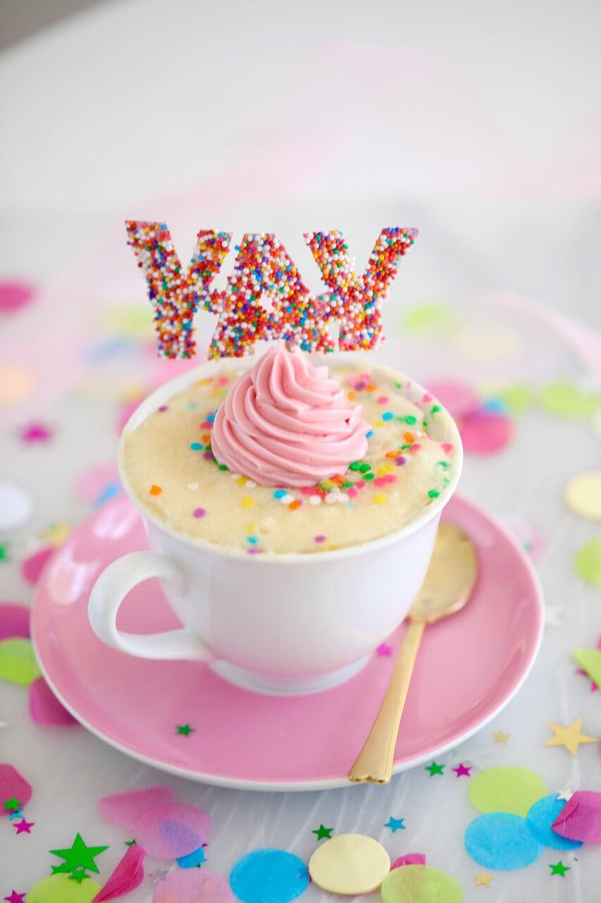 Celebration Mug Cake (Egg Free) - Gemma's Bigger Bolder Baking